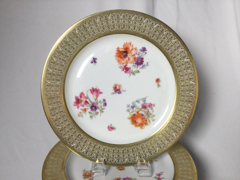 A beautiful set of 12 porcelain 10.75 inch service plates with elaborate gold borders. The floral centers with lacy style borders each with slightly different bouquets and sprigs of Dresden style flowers.