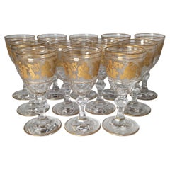 Set of 12 Val St. Lambert Acid Etched and Gilt Short Wine or Port Stems