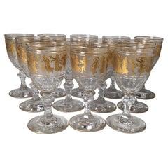 Set of 12 Val St Lambert Tall Gilt Water / Wine Glasses With Roman Figures, Gilt