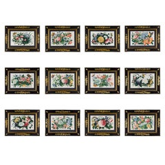 Set of 12 Watercolors on Rice Pith Paper with Flowers Butterflies Chinese