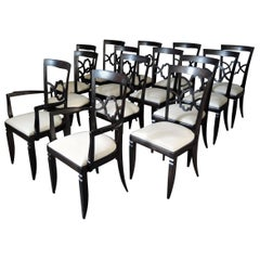 Set of 14 Fine French Art Deco Dining Chairs '12 Side and 2 Arm'