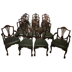 Set of 16 Hepplewhite Style Antique Dining Chairs