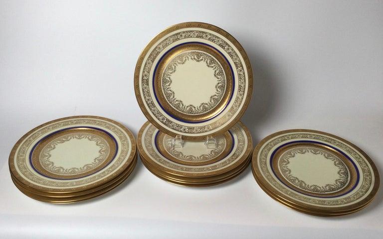 Edwardian Set of 12 Cobalt and Gilt Service Dinner Plates For Sale