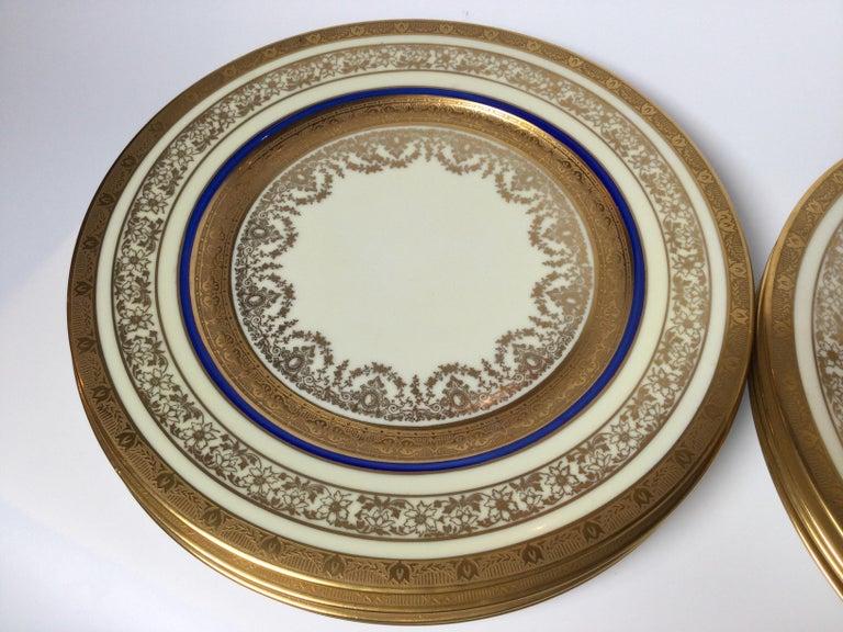 Czech Set of 12 Cobalt and Gilt Service Dinner Plates For Sale