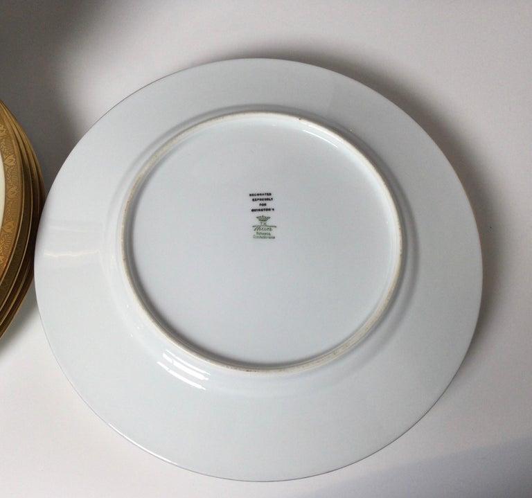 Porcelain Set of 12 Cobalt and Gilt Service Dinner Plates For Sale
