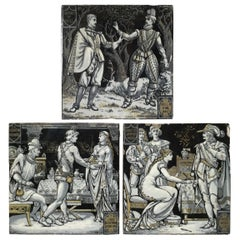 Set of 3 Antique Hand Painted Minton Tiles