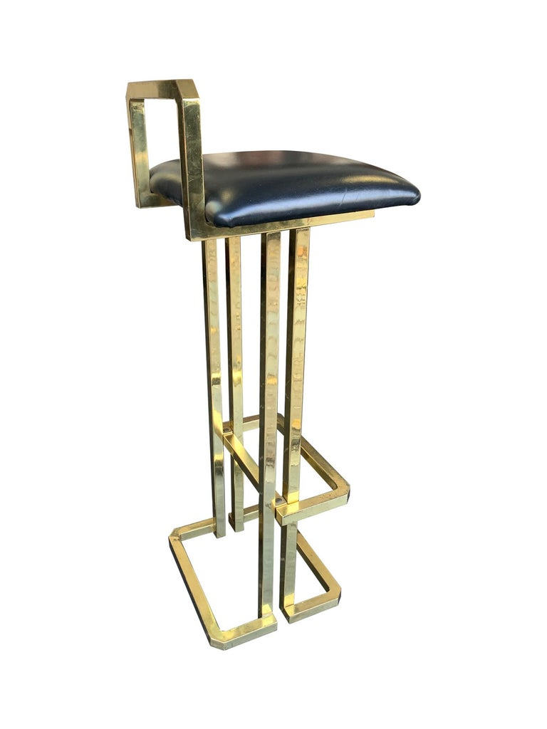 Set of 3 Maison Jansen Style Gilt Metal Stools with Black Leather Seat Pads For Sale 4