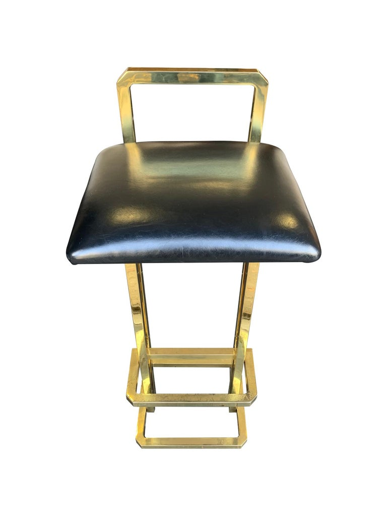 Set of 3 Maison Jansen Style Gilt Metal Stools with Black Leather Seat Pads For Sale 5