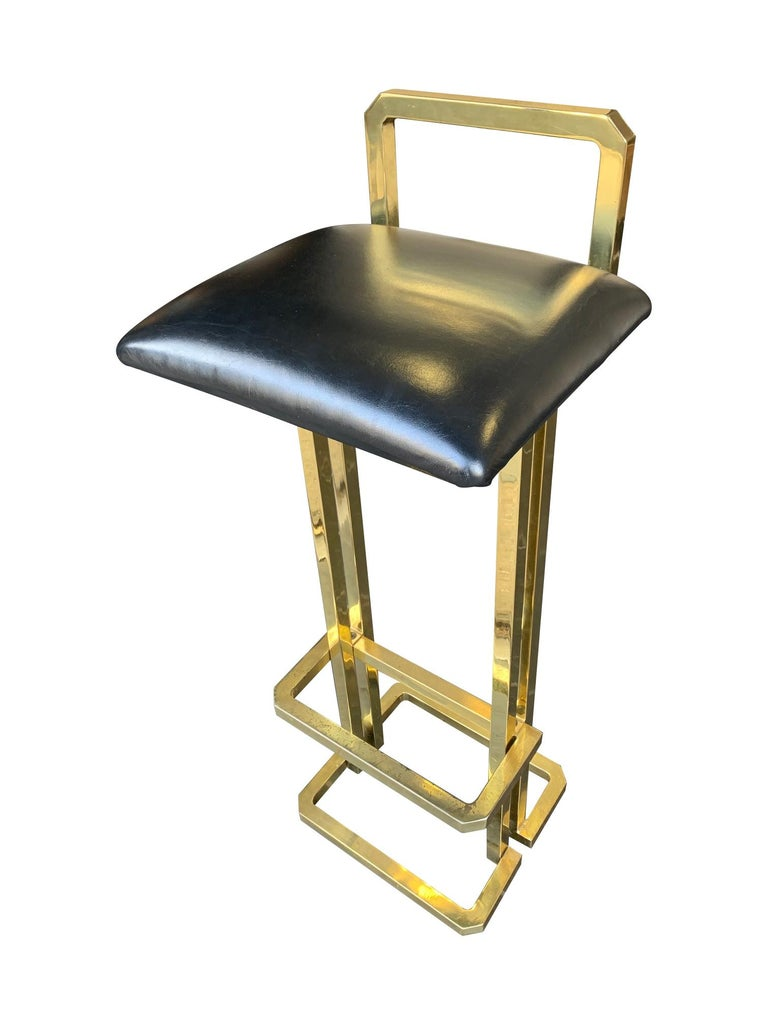 Set of 3 Maison Jansen Style Gilt Metal Stools with Black Leather Seat Pads For Sale 6