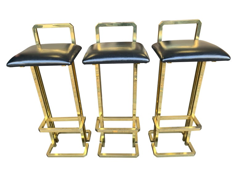 Set of 3 Maison Jansen Style Gilt Metal Stools with Black Leather Seat Pads For Sale 7