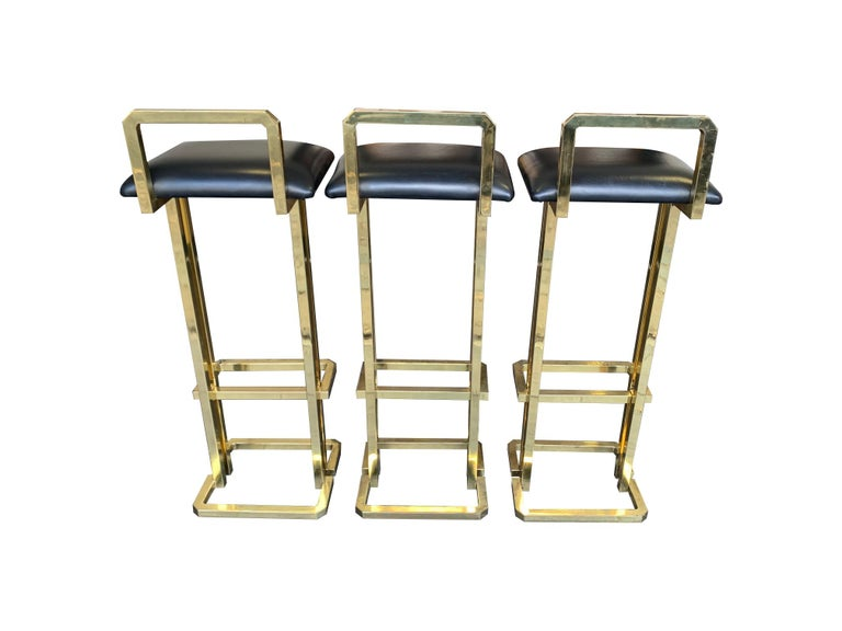 Set of 3 Maison Jansen Style Gilt Metal Stools with Black Leather Seat Pads For Sale 8