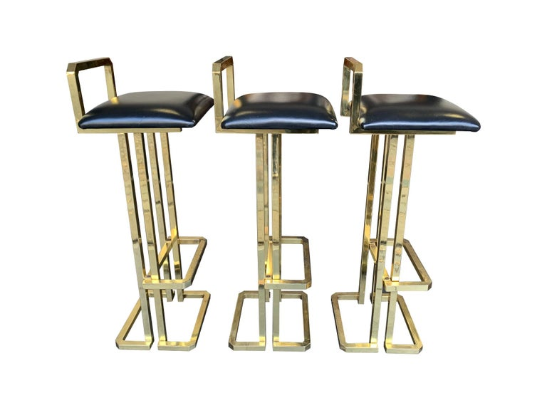 Set of 3 Maison Jansen Style Gilt Metal Stools with Black Leather Seat Pads For Sale 10