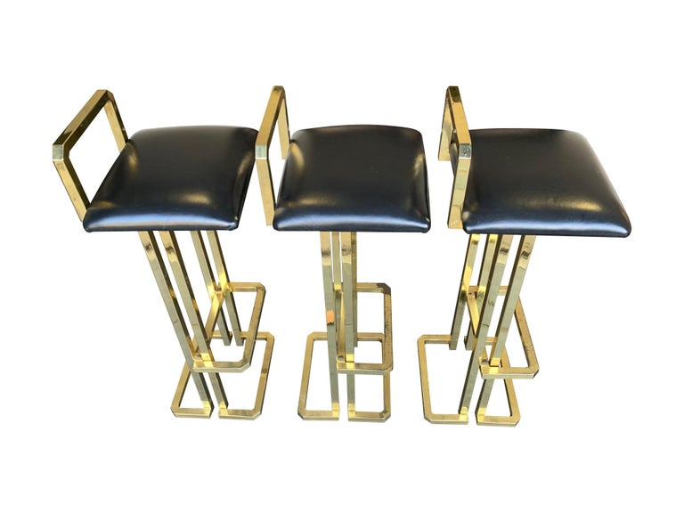Set of 3 Maison Jansen Style Gilt Metal Stools with Black Leather Seat Pads For Sale 11