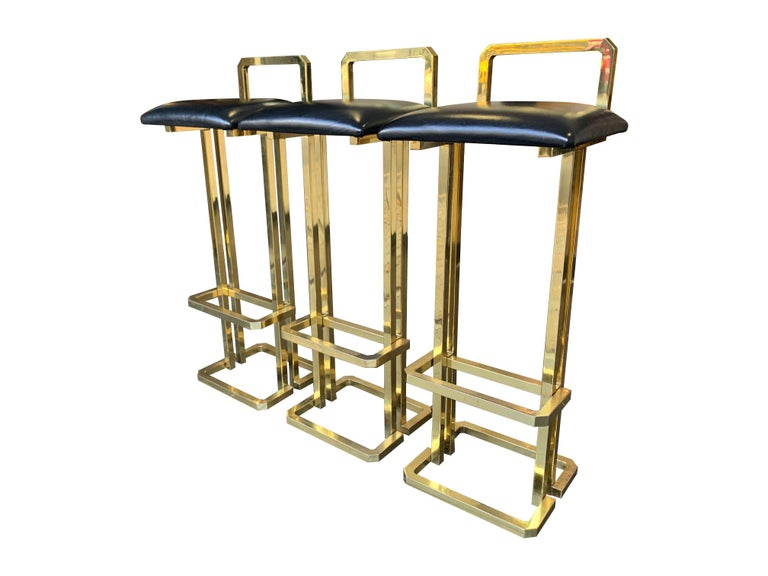 Set of 3 Maison Jansen Style Gilt Metal Stools with Black Leather Seat Pads For Sale 12