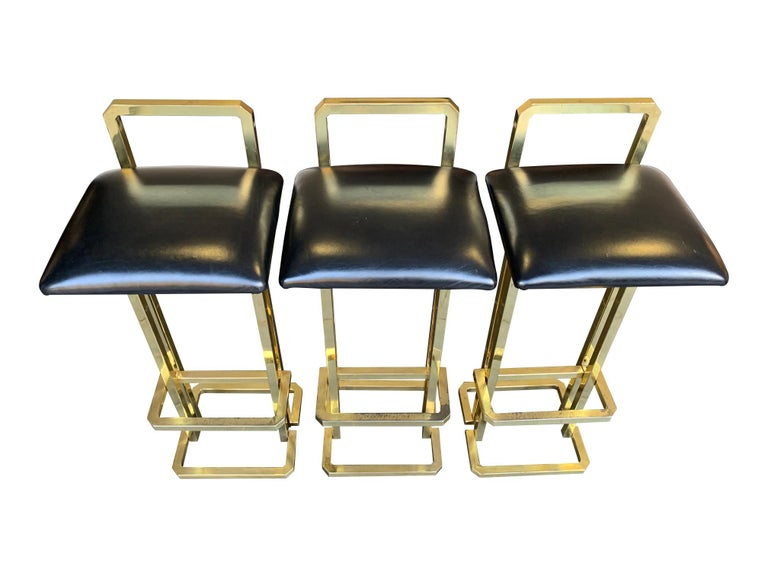Set of 3 Maison Jansen Style Gilt Metal Stools with Black Leather Seat Pads For Sale 13