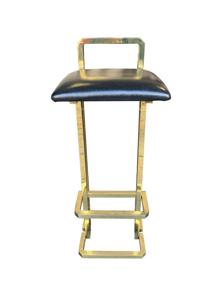 French Set of 3 Maison Jansen Style Gilt Metal Stools with Black Leather Seat Pads For Sale