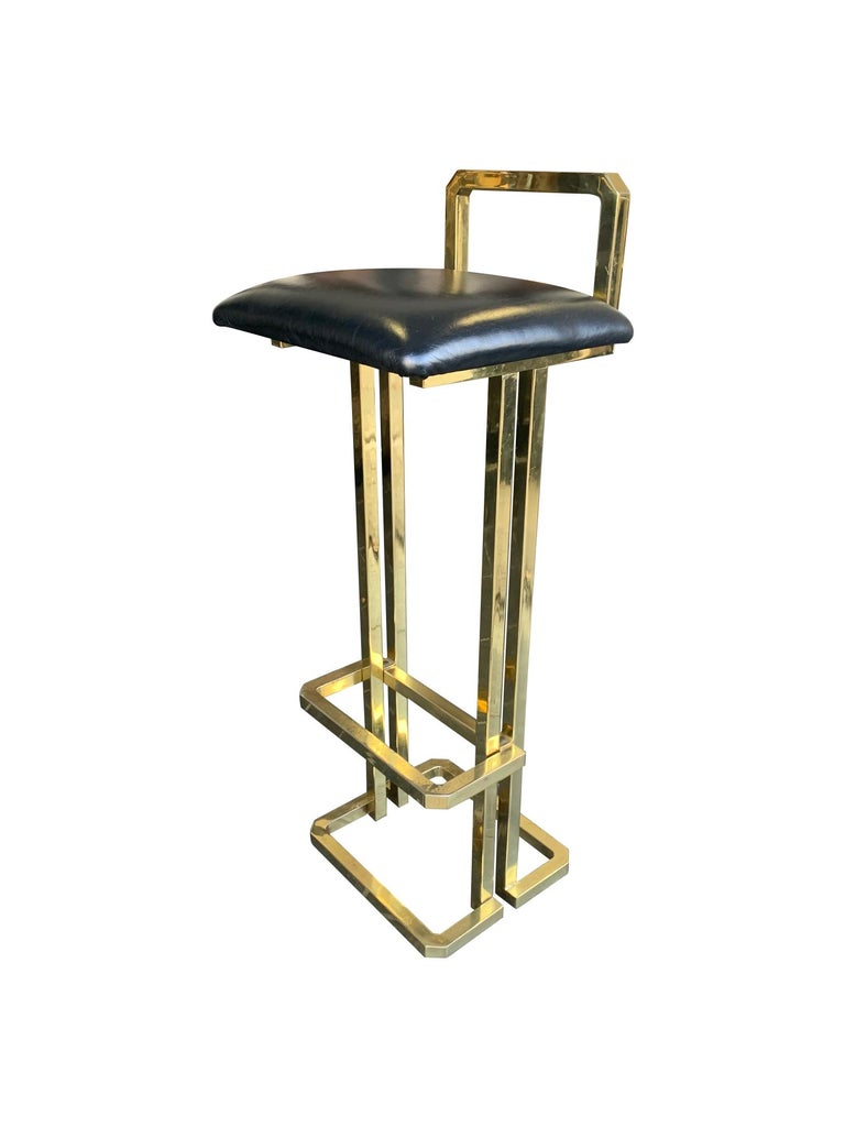 Set of 3 Maison Jansen Style Gilt Metal Stools with Black Leather Seat Pads In Good Condition For Sale In London, GB