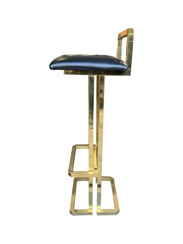 Late 20th Century Set of 3 Maison Jansen Style Gilt Metal Stools with Black Leather Seat Pads For Sale