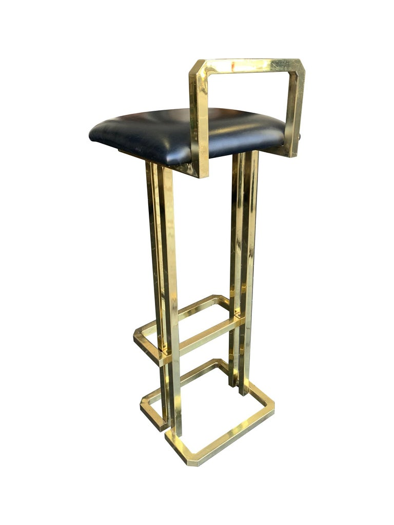 Set of 3 Maison Jansen Style Gilt Metal Stools with Black Leather Seat Pads For Sale 1