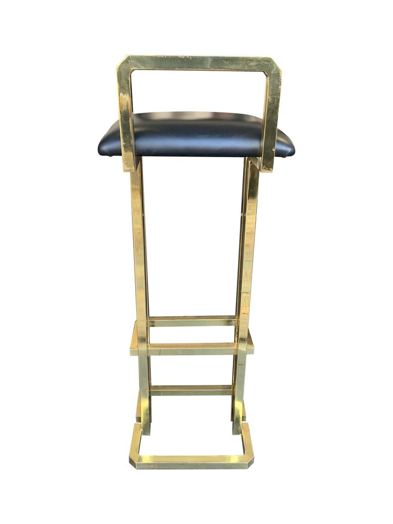 Set of 3 Maison Jansen Style Gilt Metal Stools with Black Leather Seat Pads For Sale 2
