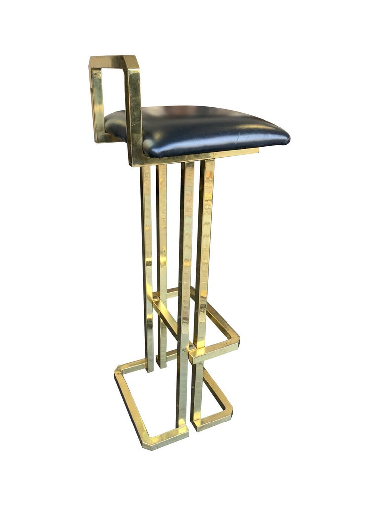 Set of 3 Maison Jansen Style Gilt Metal Stools with Black Leather Seat Pads For Sale 3