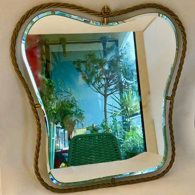 Set of 3 midcentury vintage Italian brass mirrors.