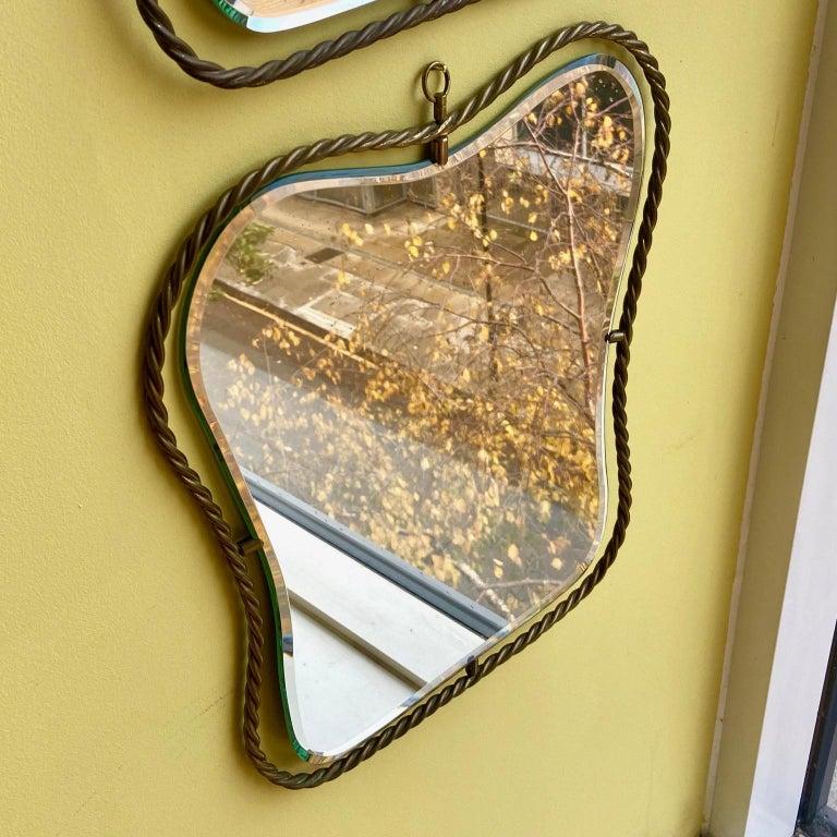 20th Century Set of 3 Midcentury Vintage Italian Brass Mirrors, circa 1950s