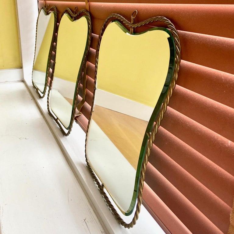 Set of 3 Midcentury Vintage Italian Brass Mirrors, circa 1950s 1