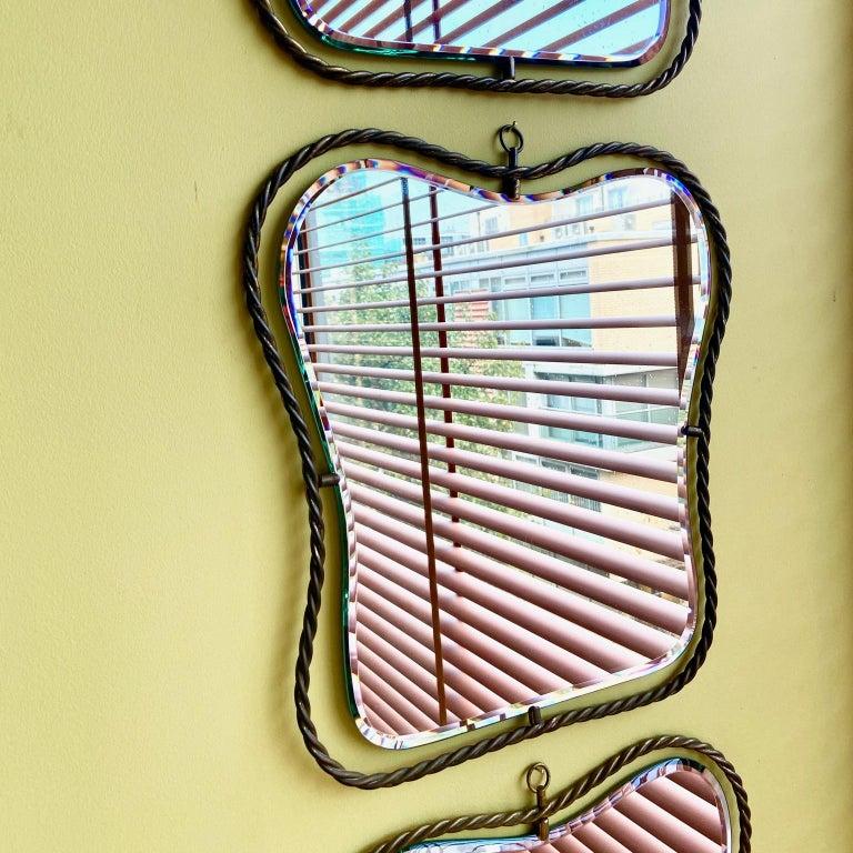Set of 3 Midcentury Vintage Italian Brass Mirrors, circa 1950s 4