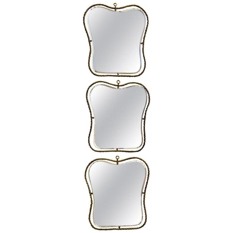 Set of 3 Midcentury Vintage Italian Brass Mirrors, circa 1950s