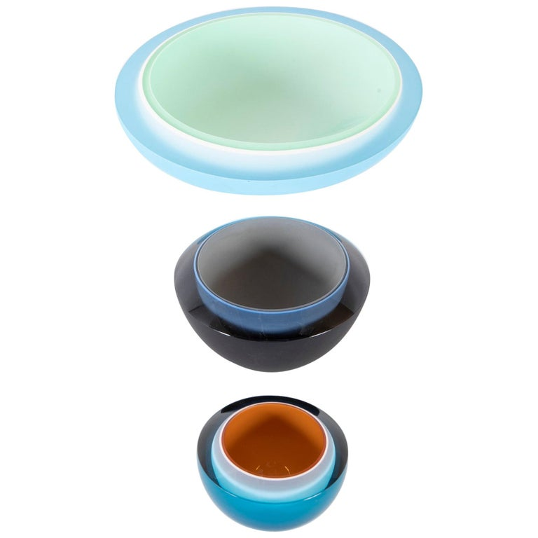 Set of 3 Rachael Woodman Three-Color Case Glass Polished Vessels For Sale