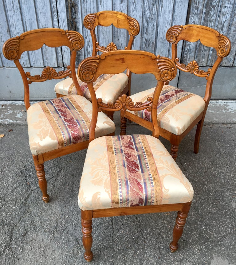 Set of 4 19th Century Biedermeier Dining Room Chairs, Sweden For Sale 3