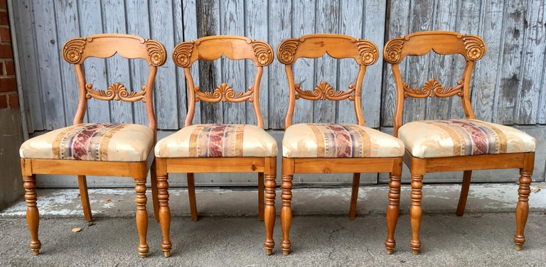Set of 4 19th Century Biedermeier Dining Room Chairs, Sweden For Sale 4