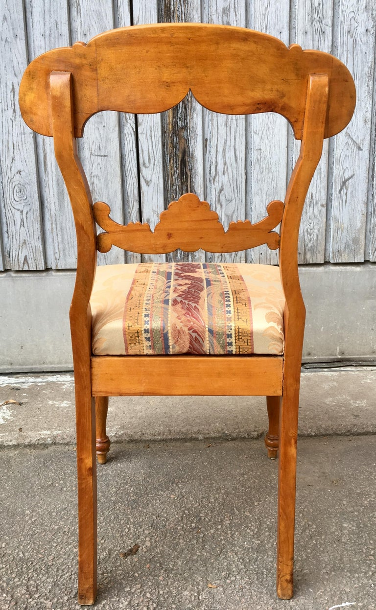 Set of 4 19th Century Biedermeier Dining Room Chairs, Sweden For Sale 7