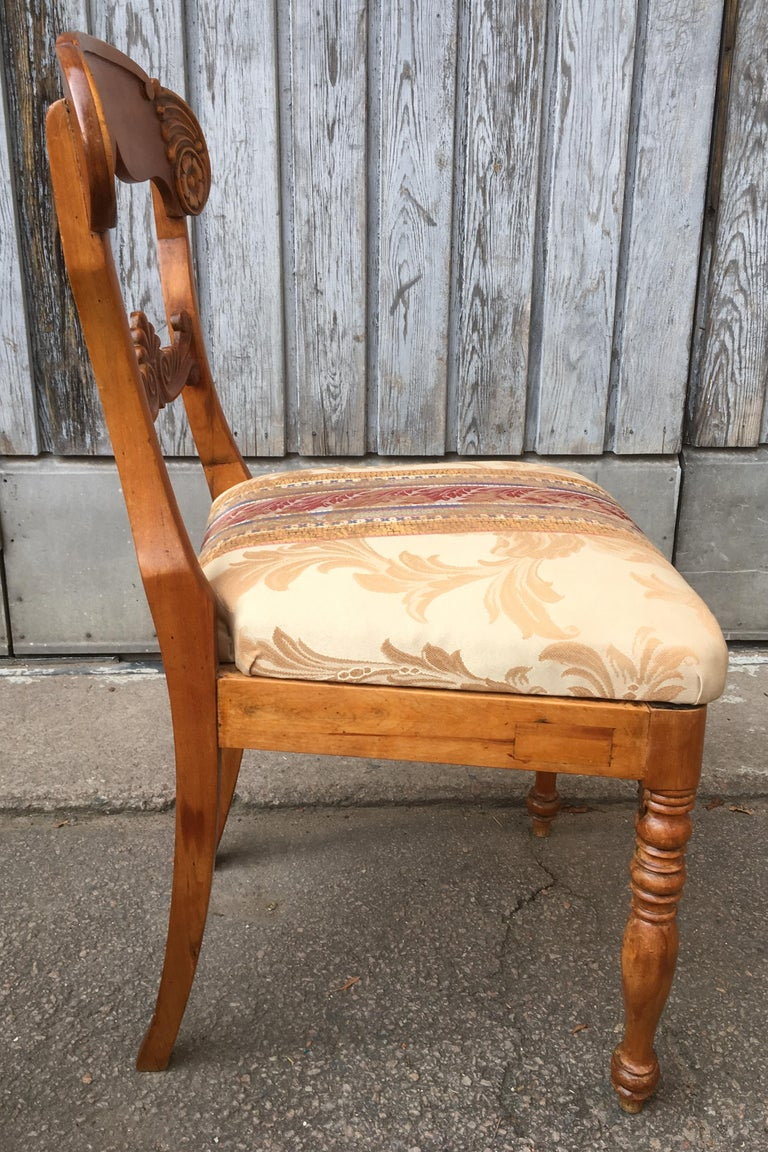 Set of 4 19th Century Biedermeier Dining Room Chairs, Sweden For Sale 8