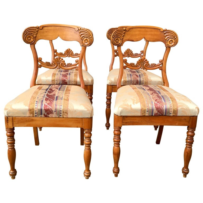 Swedish Set of 4 19th Century Biedermeier Dining Room Chairs, Sweden For Sale