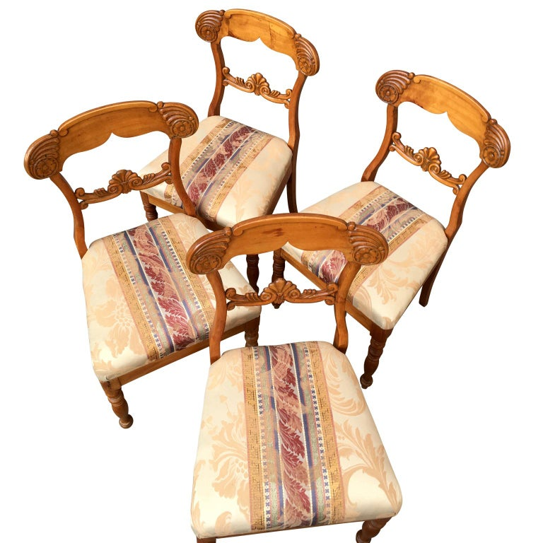 Birch Set of 4 19th Century Biedermeier Dining Room Chairs, Sweden For Sale