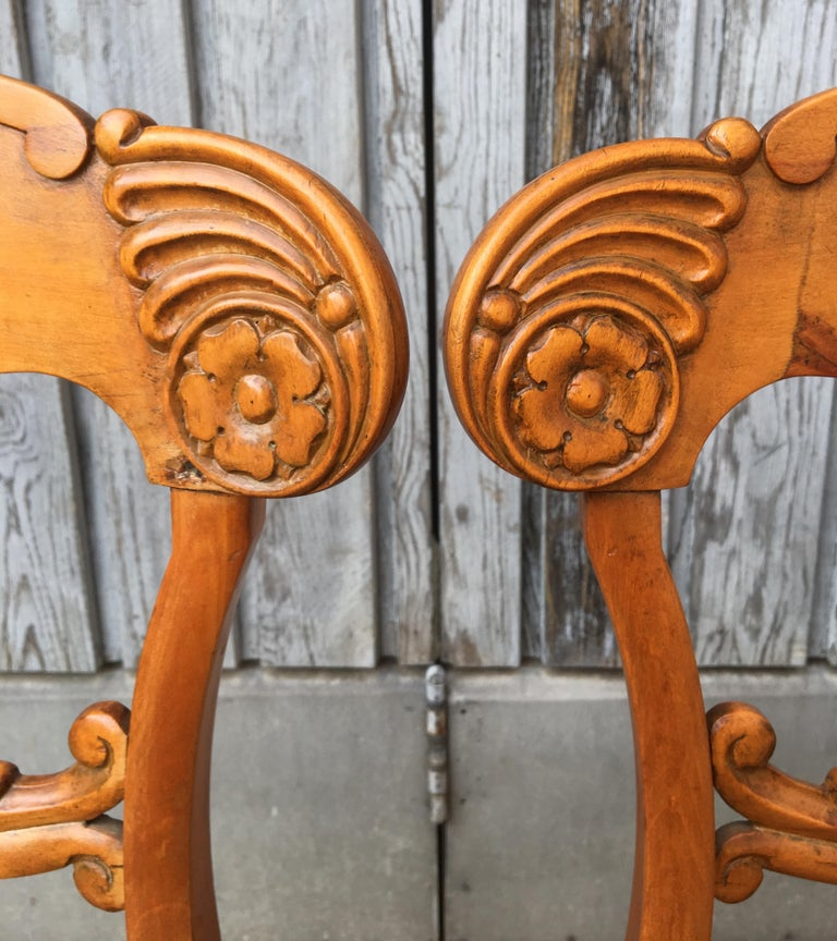 Set of 4 19th Century Biedermeier Dining Room Chairs, Sweden For Sale 1