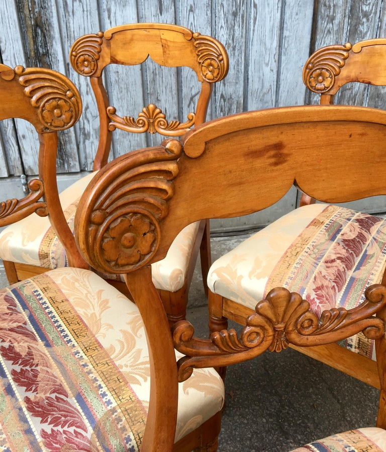 Set of 4 19th Century Biedermeier Dining Room Chairs, Sweden For Sale 2