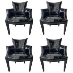 Set of 4 Black Patent Leather Closed Armchairs, Donghia