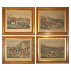 Set of 4 Hand Colored Copper Engraved Fox Hunting Prints in Early Frames