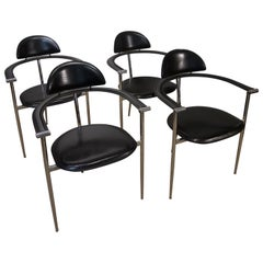 Set of 4 Italian Black Leather Stiletto Chairs by Arrben