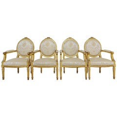 Set of 4 Late 19th Century French Louis XVI Oval Back Fauteiuls