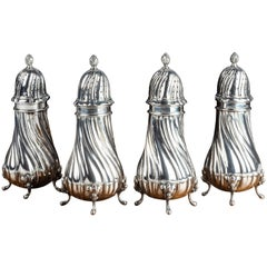 Set of 4 Late 19th Century Silver Sugar Dredgers