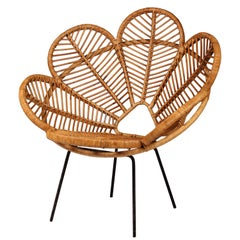 Cane, Wicker and Raffia Flower garden Chairs Mid Century French Design