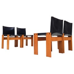 Set of 4 'Monk' Dining Chairs by Afra & Tobia Scarpa for Molteni, Italy, 1974