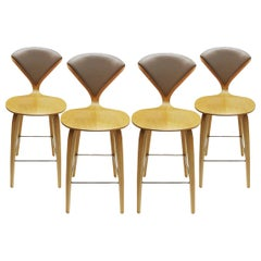 Set of 4 Norman Cherner Designed Oak, Chrome and Plywood Bar Stools