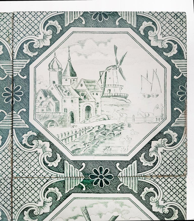 Set of 4 of Total 200 Glazed Ceramic Tiles by Gilliot, 1930 In Good Condition For Sale In Rijssen, NL