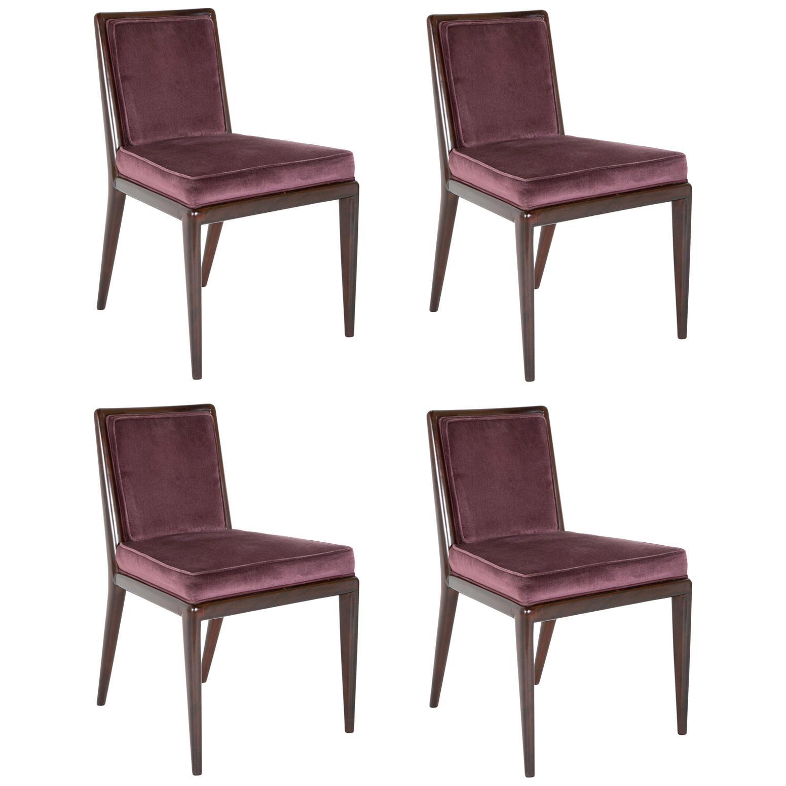 Set of 4 Robsjohn-Gibbings Walnut Toned Mahogany Chairs