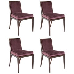 Set of 4 Robsjohn-Gibbings Walnut Toned Mahogany Chairs